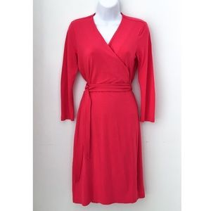 GAP Jersey Knit Bright Pink Wrap Dress, Size XS